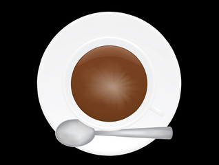 cup of coffee over black vector illustration