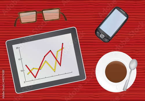 chief table with tablet pc vector illustration
