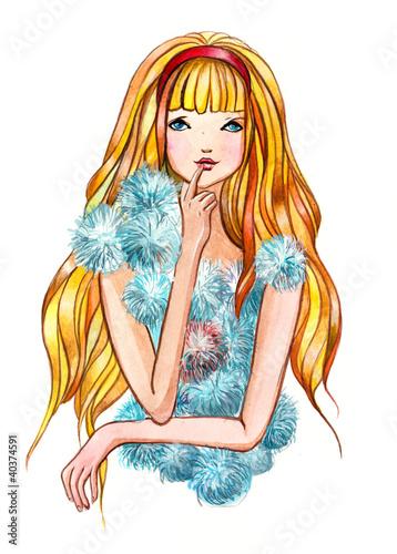 In de dag Vrouw Gezicht fluffy girl