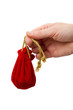Woman's hand with a red bag