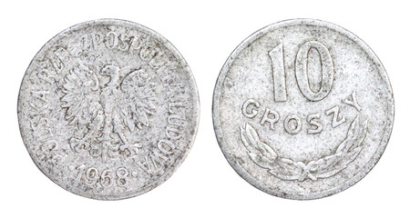 Old 10 Groszy Coin of Poland of 1968