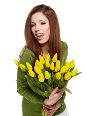 Woman with  tulips bouquet of flowers smiling isolated on white