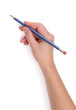 Writing hand with a blue pencil