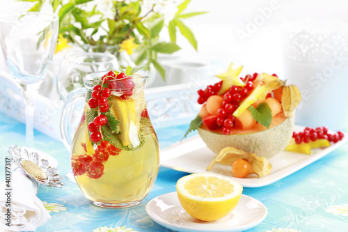 Fresh fruits served in melon bowl