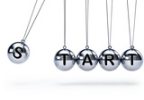 Newtons cradle with five balls - start
