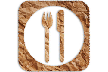 Vintage restaurant symbol isolated on the white.