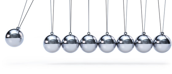 Newtons cradle with eight balls - panorama