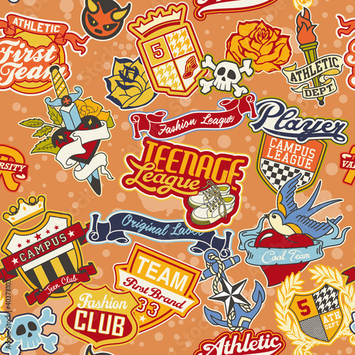Stickers patchwork seamless pattern
