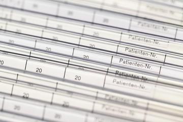 Patienten-Nummer Karteikarte