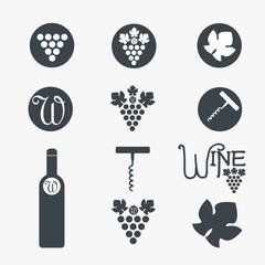 Wine theme icons. Vector