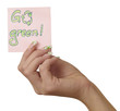 Note in Woman Hand Go green
