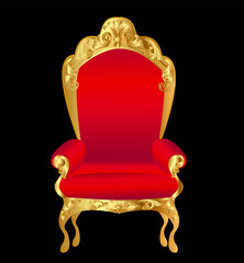 old chair red with gold ornament on black