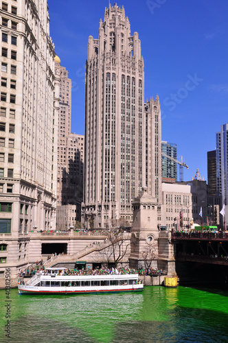 Wrigley Tower Chicago on Saint Patricks Day