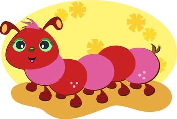 Cute Red Caterpillar
