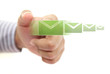 hand pushing email button