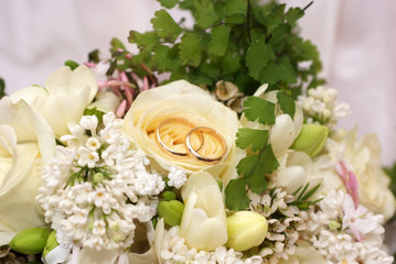 Anelli intrecciati su rosa