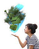 woman holding eco things, sustainable concept poster