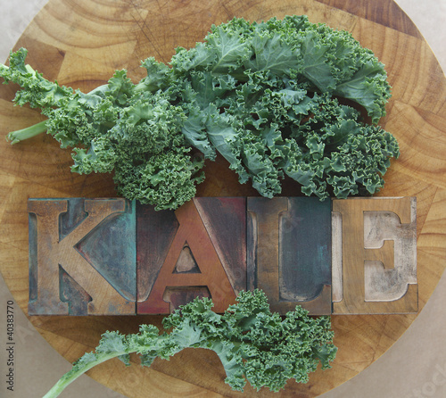 kale leaves with word
