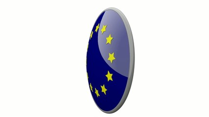 Sich drehende Scheibe mit den Flaggen der EU und Griechenland