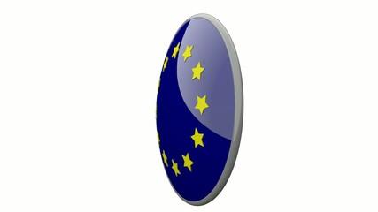 Sich drehende Scheibe mit den Flaggen der EU und Portugal