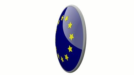 Sich drehende Scheibe mit den Flaggen der EU und Polen