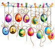 Set of Cute Hanging Easter Eggs