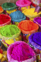Piles of colored powder for Indian festival Holi