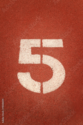 Number 5 on running track