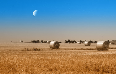 moon and stars over bales of hay in countryside