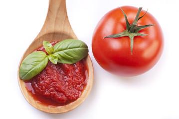 mestolo con salsa di pomodoro