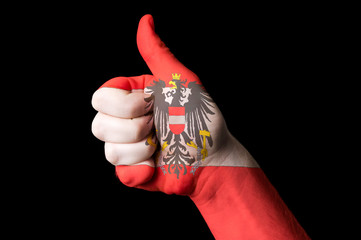 austria national flag thumb up gesture for excellence and achiev