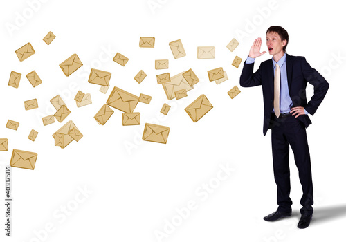 Business man shouting with numbers and symbols