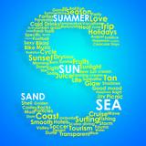Summer typographic concept arrangement poster