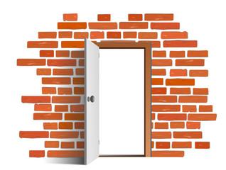 Tür mit Backsteinwand