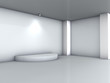 3d podium and spotlight for exhibit in the grey interior