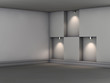 3d empty niches with spotlights for exhibit in the grey interior