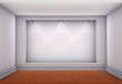 3d niche with spotlights for exhibit in the empty room