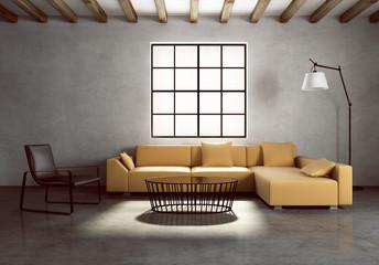 Concrete wall contemporary village interior, vintage style
