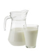milk in a jug and glass isolated on white background