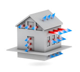Fototapety 3d house with arrows of heat loss