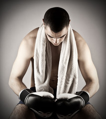 Attractive muscular boxing