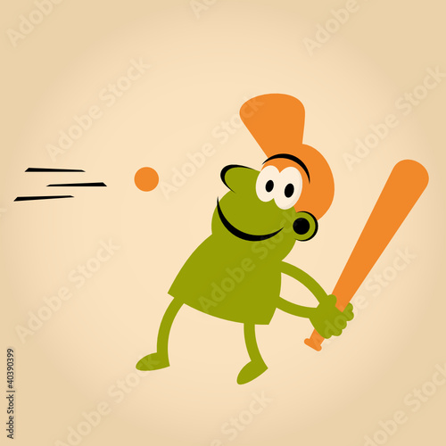 baseball retro cartoon