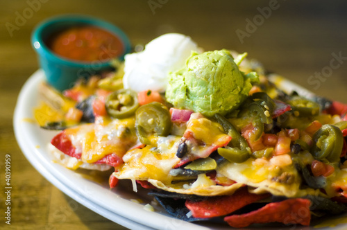 Nachos with cheese and guacamole