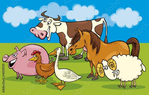 Foto op Canvas Boerderij Group of cartoon farm animals