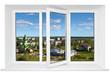 White plastic triple door window with city view through glass.