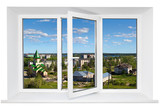 Fototapety White plastic triple door window with city view through glass.