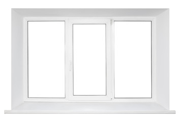 White plastic triple door window isolated on white background