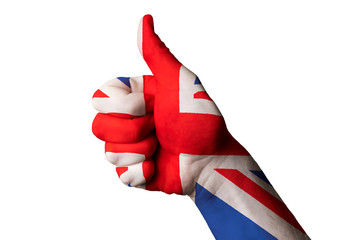 united kingdom national flag thumb up gesture for excellence and