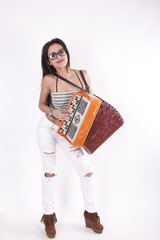 Young attractive sexy woman playing accordian