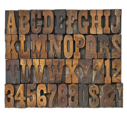 letters and numbers in vintage type